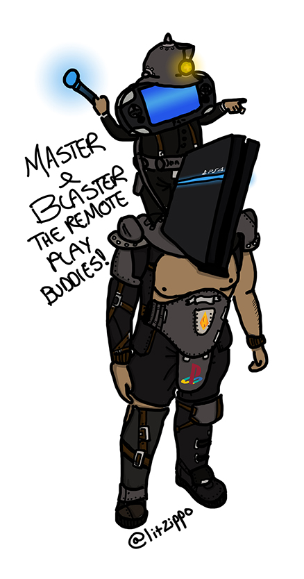 Master & Blaster! The PS4 Remote Play buddies. Drawn for a contest here