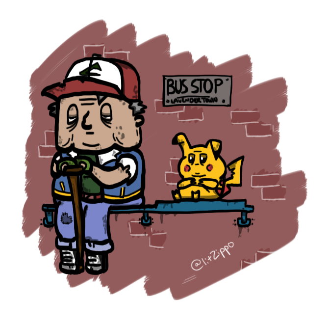 """Ash Ketchum and Pikachu as if they had actually aged properly :3"" Ash has been around like 80 years, right?"