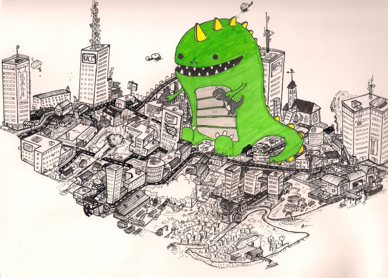 """Green Godzilla"". A pen and ink piece on A4 paper that I actually sold on Etsy. I think it's somewhere in America now. If someone ever comes across it, tell me!"
