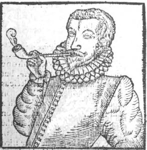 The earliest depiction of a European man smoking, from Tabacco by Anthony Chute.