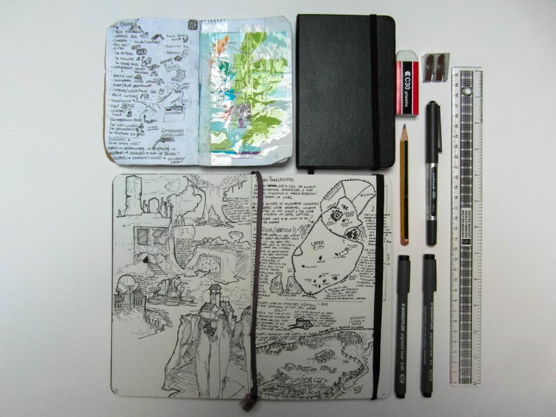 My Sketchbook I use for everything from history notes, book and writing ideas, builds for minecraft, memorable quotes and the odd page taped in from other books or leaflets I want to save. My Field notes usually has day to day stuff, like in this case the list of gear I needed for my camping trip, and a crudely waterproofed map. Once my field notes run out, I tend to cannibalise the best pages and save them in the journal.