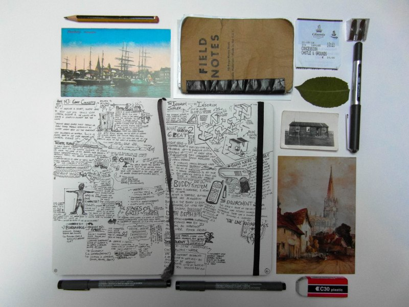 A wee sample of the things I keep in the sketchbook. Postcards from places I've traveled (sealed in a plastic cover), old photos, leaves and pressings, tickets and a small backup notebook (though it mysteriously went missing when I was in Germany and the field notes are standing in!)
