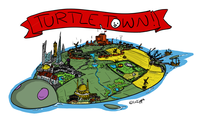My little cousin asked for a town on the back of a turtle. Next Terry Pratchett over here.